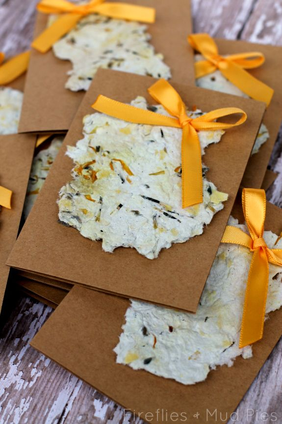DIY Plantable Recycled Paper Seed Cards - Fireflies and Mud Pies
