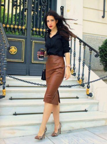 ZARA-FAUX-LEATHER-MIDI-brown-PENCIL-skirt-blogger-2015-XS