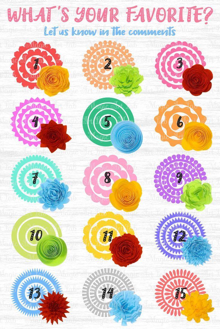 Rolled Flowers : rolled, flowers, Rolled, Flower, Paper, Flower,, Flowers, Template,, Cricut,, Flowers,, Origami