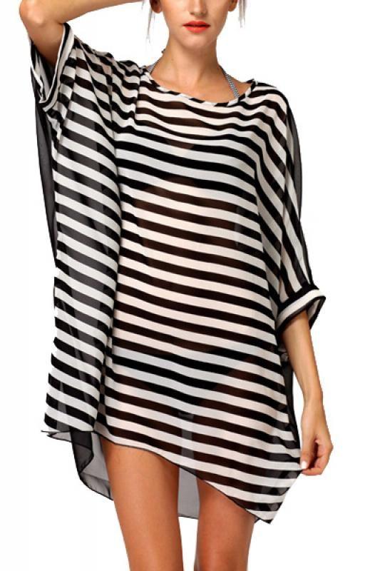 Striped Three Quarter Sleeve Beach Shift Chiffon Dress