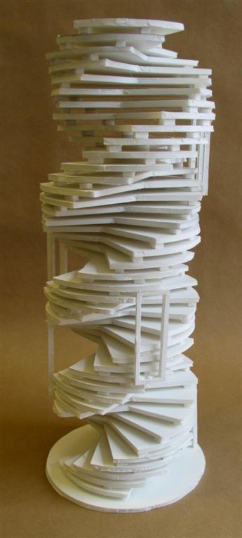 Clara Lieu, RISD Pre-College Design Foundations, Staircase Sculpture Assignment, foam board & hot glue, 2006