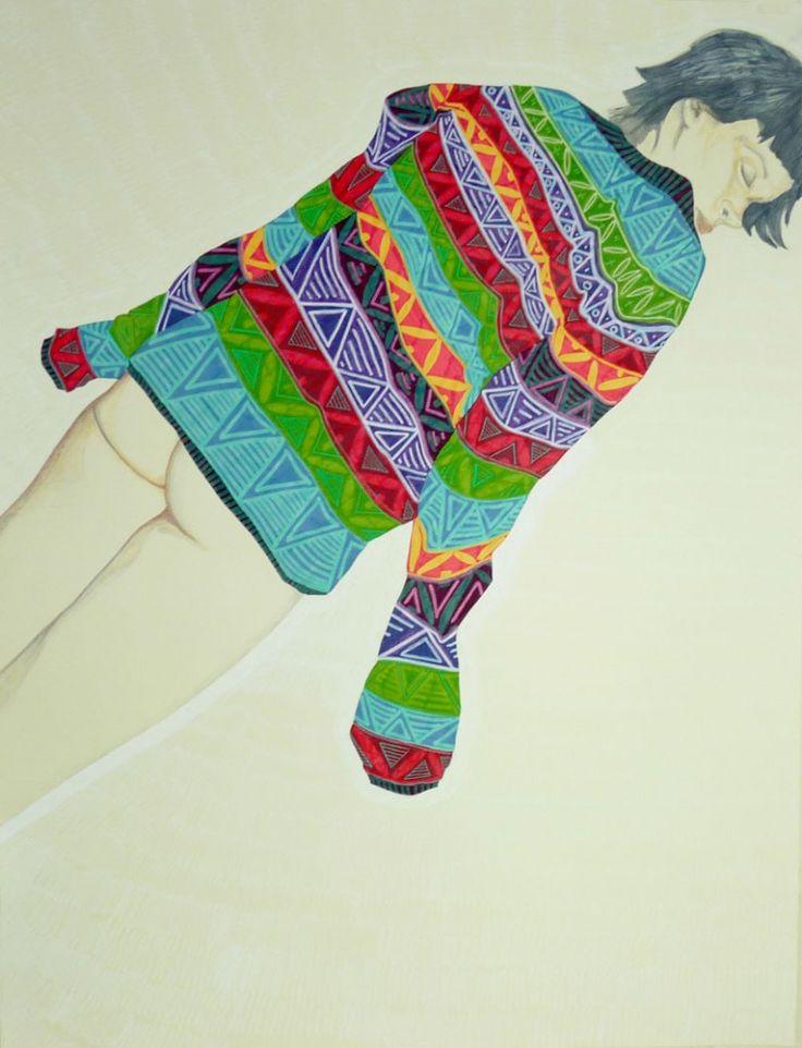Lay Down.2013  50 x 70 cm (you and me and the cat )  Azucena González #vertigo #drawing #colors #art