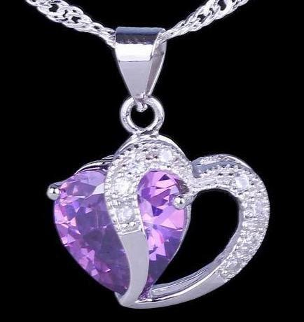 Silver Amethyst Double Heart Necklace Silver by PurpleCatShop