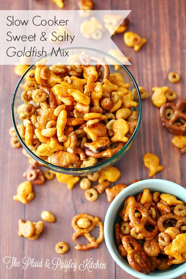 Slow Cooker Sweet and Salty Goldfish Mix ~The Plaid & Paisley Kitchen~ This is a fun and easy recipe to make with your kids! Not your average snack mix. Have some fun with your kids and make this today!