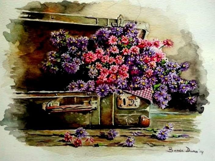 Flowers in the luggage, original painting by Berrin Duma