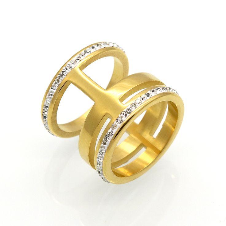 Mopera Luxe Crystal White Zirkoon Zilver Goud Kleuren Rvs Ring Nieuwe Mode-sieraden Mannen Vrouwen Trouwringen