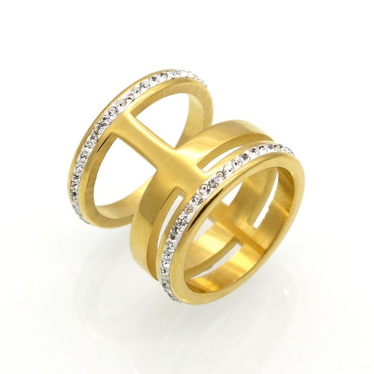 Mopera Luxury Crystal White Zircon Silver Gold Colors Stainless Steel Ring New Fashion Jewelry Men Women Wedding Rings