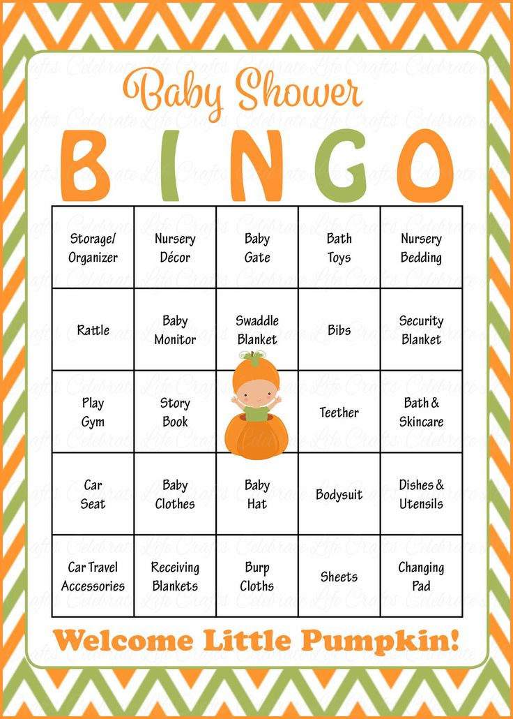 Baby Shower Bingo is played as mommy-to-be opens her gifts! Our popular orange and green pumpkin baby shower theme is perfect for a baby boy shower. INSTANT DOWNLOA