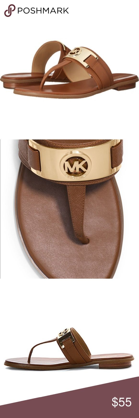 Michael kors warren thong Camel flip flop with mk logo MICHAEL Michael Kors Shoes Sandals
