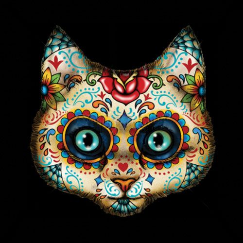 Day Of The Dead Cat Sugar Skull