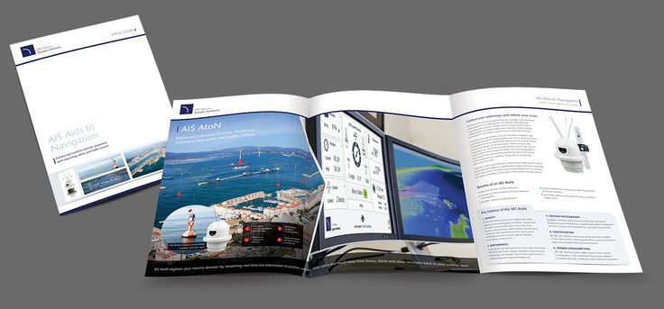 """An """"up market"""" six page brochure to promote SRT's AIS AtoN technology. The design utilises internal large graphics to explain the sophisticated system in a visually appealing way, whilst retaining a corporate and professional look. #brochures #SRT #AIS #AtoN #design #marine #technology"""