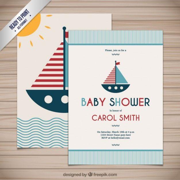 Tarjeta de bienvenida del bebé en estilo náutico Vector Gratis