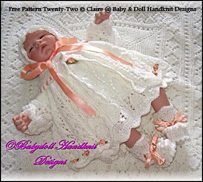 "FREE Rosebuds and Butterflies 16-18"" doll/newborn baby-free knitting pattern"
