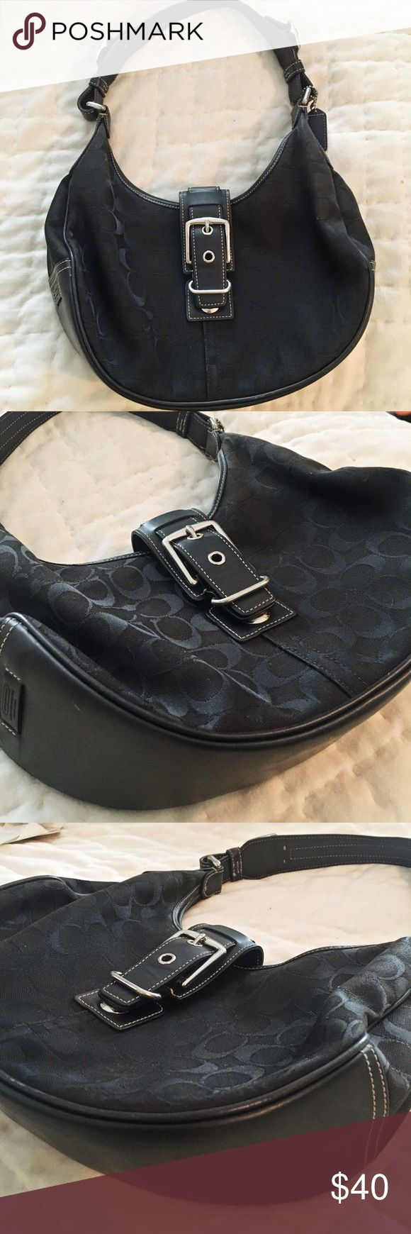 100% Authentic Classic Black Coach Hobo Bag This is the classic Coach staple logo fabric hobo bag. In almost perfect condition except for the corner stain on the back of the bag( as pictured). No rips or tears. Leather in excellent condition. Perfect interior. Lovingly used. Coach Bags Hobos