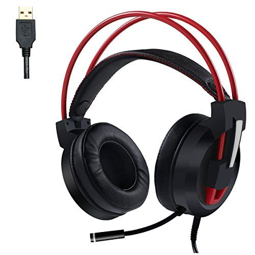 USB Over Ear Headphones, Lightweight Self-adjust Stereo Virtual 7.1 Surround Sound Gaming Headset With Microphone LED Light for iMac Laptop PC Desktop Computer (Black+Red)  【Compatible】The gaming headset supports iMac, laptop, PC, desktop computer. Please note that it's NOT work with PS4, PS3, XBOX ONE. The USB over ear headphones is not only a gaming headset, the properly balanced bass sound also suit for listening music and watching movie.12-Month WARRANTY.  【Upgraded Technology 】Vir...