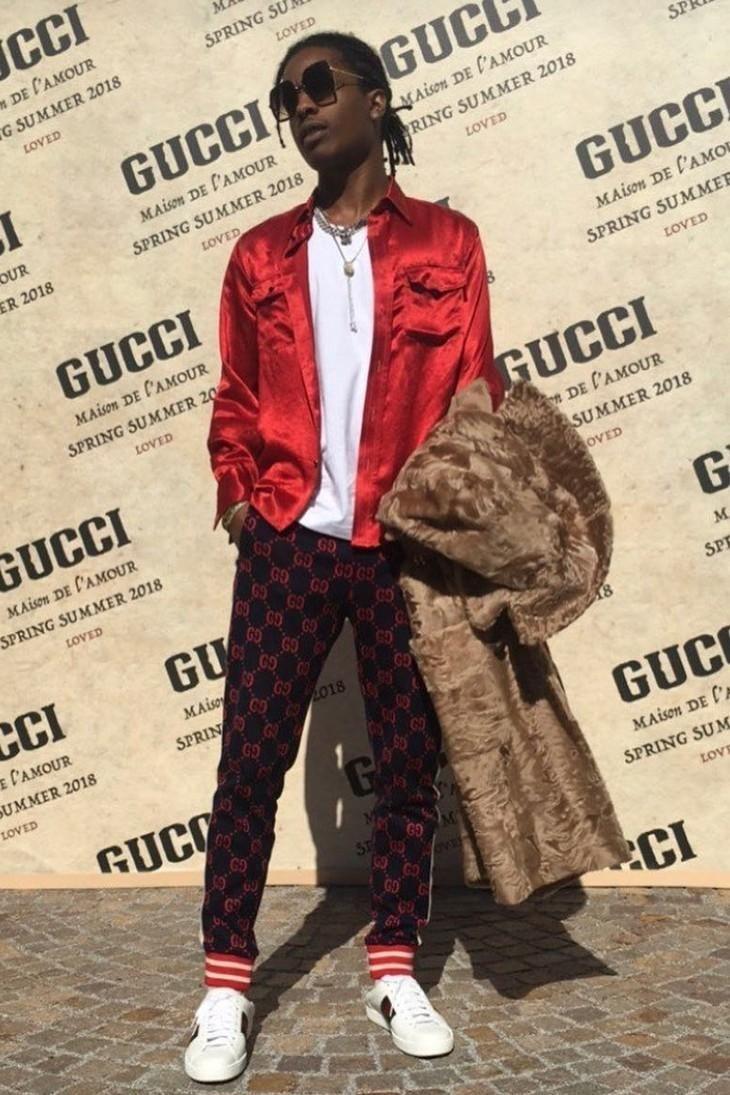 b69de896 ASAP Rocky rocking Gucci Printed Pants and Sneakers   Asap rocky ...