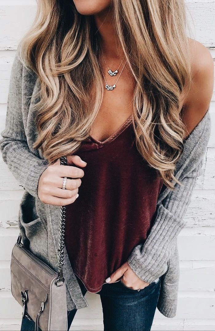 Velvet maroon tank, gray cardigan, jeans, crossbody bag, layered necklaces-outfit
