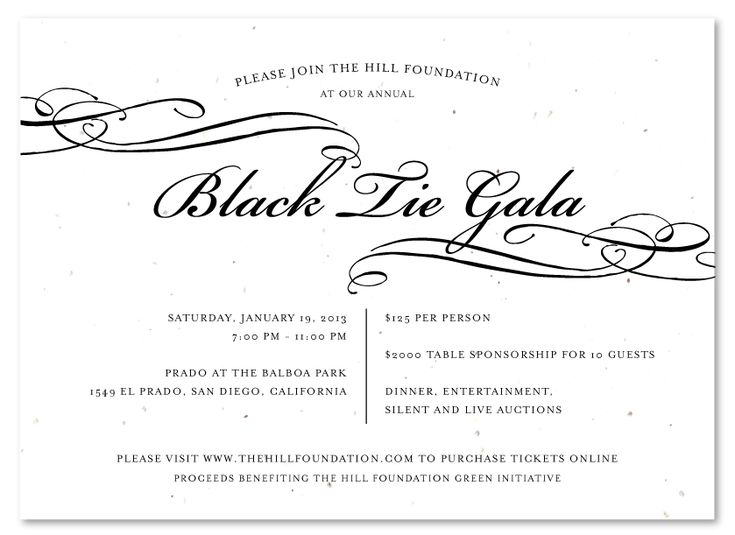 Black Tie Gala Invitations formal Seeded Paper.  Elegant Black Tie Gala Fundraising Invitations - to wow your donors! Printed on premium handmade 100% recycled paper, which will bloom into wildflowers once planted. Add your logo for free.