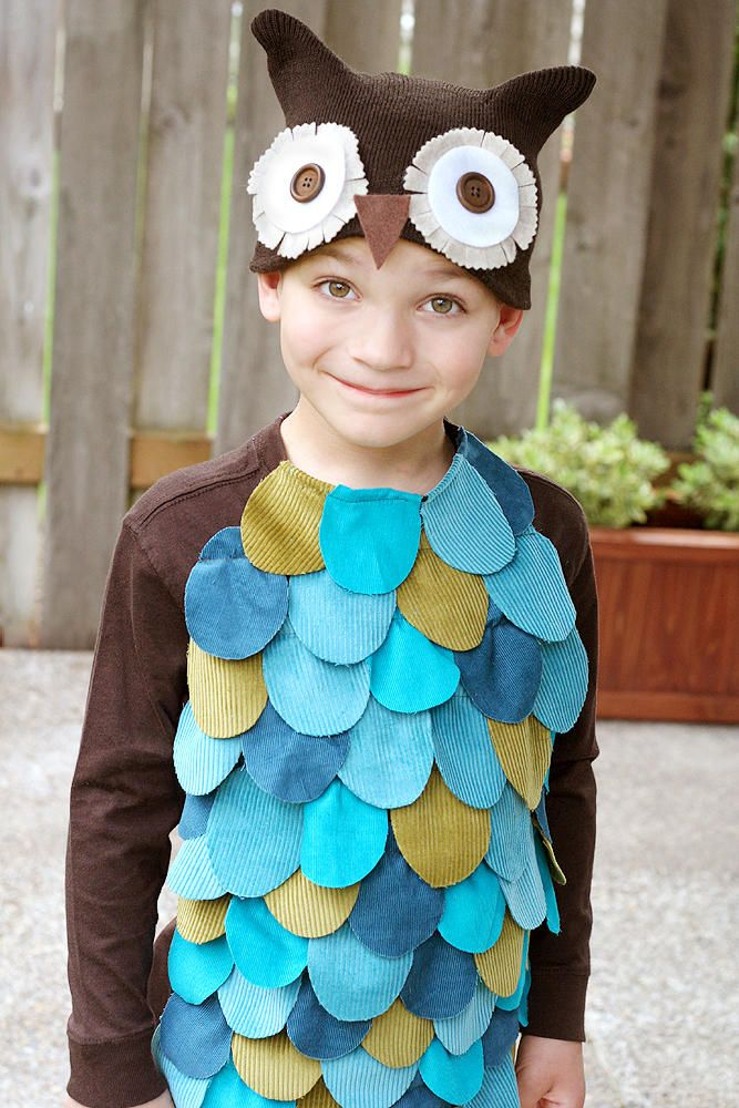 Embellish a plain colored shirt and simple knit cap with scraps of fabric to create this easy owl costume.