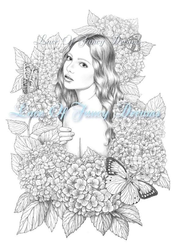Hydrangea coloring page pdf beautiful woman coloring sheet printable ...