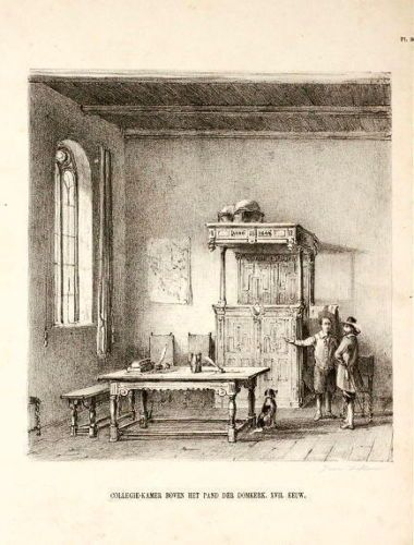"""Collegezaal boven de zuidelijke arm van de kruisgang van de Domkerk, 17e eeuw - J. v. Liefland, """"Utrechts Oudheid"""", 1857"""