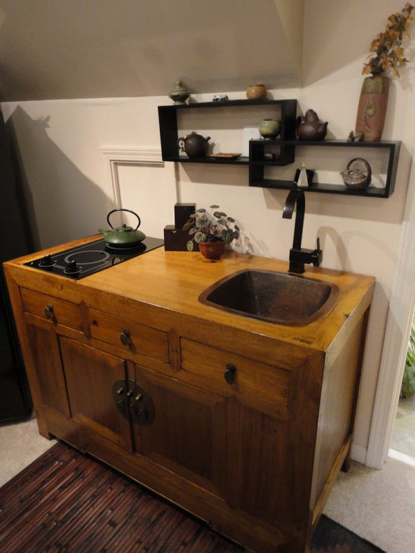 Handmade Mini Kitchens-- I could get one of those little counter top ovens from Lowe's and that would be all I'd need! :) (Tiny House idea!)
