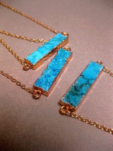 Turquoise Jewelry Howlite Bar Necklace 24k by FashionCrashJewelry