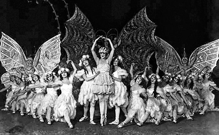 The Ziegfeld Follies -a series of theatrical productions on Broadway from 1907-1931. The Follies were lavish revues. Many of the top entertainers of the era (including W.C. Fields, Eddie Cantor,  Fanny Brice, Ann Pennington, Bob Hope, Will Rogers, Ruth Etting, Ray Bolger, Marilyn Miller, Ed Wynn, Sophie Tucker and others) appeared in the shows. The Ziegfeld Follies were also famous for many beautiful chorus girls (Zigfield Girls) usually wearing elaborate costumes.
