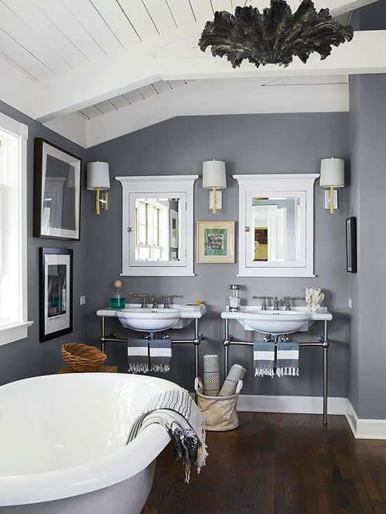 This open bathroom features plenty of room for two! More universal bathroom design ideas: http://www.bhg.com/bathroom/remodeling/planning/universal-bathroom-design-ideas/?socsrc=bhgpin080913woodfloors