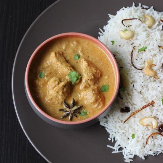 Indian chicken korma curry with coconut and yogurt