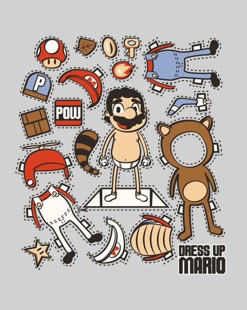 """Dress-up Mario - ha ha ha! Too funny. I would've thought Mario was more of a boxers man, instead of """"tighty whitey's""""!?"""