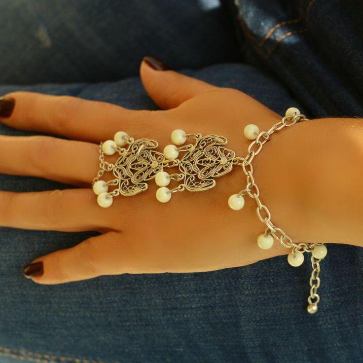 Statement Filigree Cuff Retro Hand Jewelry Slave Ring Women Boho Metal Bracelet #Takimania #Statement