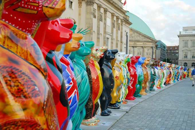 Hand-painted Buddy Bears from around the world circle Bebelplatz, where once the Nazis held book burnings.