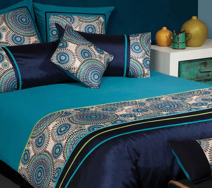 The Gallerie   Meridian Retro Circle Peacock Quilt Cover Set   Https://www