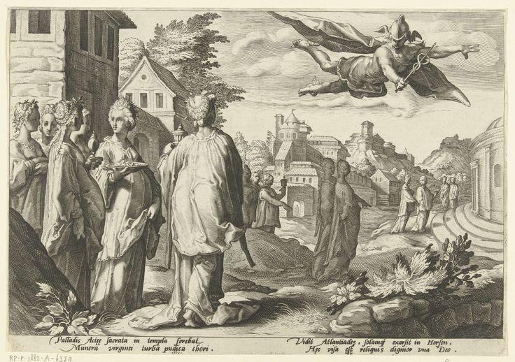 Hendrick Goltzius | Mercurius wordt verliefd op Herse, Hendrick Goltzius, Franco Estius, 1590 | Mercurius bespiedt de dochters van Cecrops, als zij terugkeren van het feest van Minerva, en wordt verliefd op de mooiste van hen, Herse. Onder de voorstelling twee keer twee regels Latijnse tekst. Deze prent is onderdeel van een serie van 52 prenten die verhalen uit Ovidius' Metamorfosen verbeelden. Deze serie valt uiteen in drie genummerde reeksen: twee van 20 prenten en één van 12 prenten. Deze…
