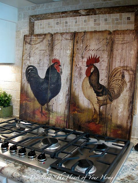 love these roosters but I probably wouldn't put them behind the cooktop where they would get splattered with grease.