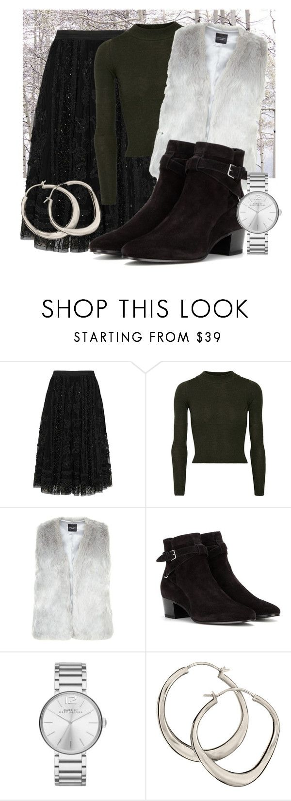 """""""Slytherin: Winter"""" by missgranger ❤ liked on Polyvore featuring Needle & Thread, MM6 Maison Margiela, Yves Saint Laurent, Marc Jacobs, Dinny Hall, Winter, slytherin, Sweater and midiskirt"""
