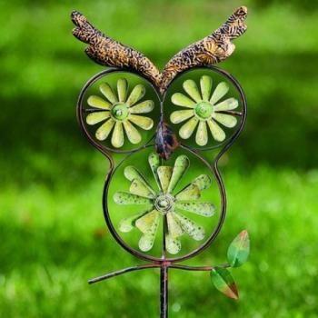 Windmolen voor in de tuin kopen - leuke molens voor kinderen in de tuin - decoratie met uilen voor in de tuin