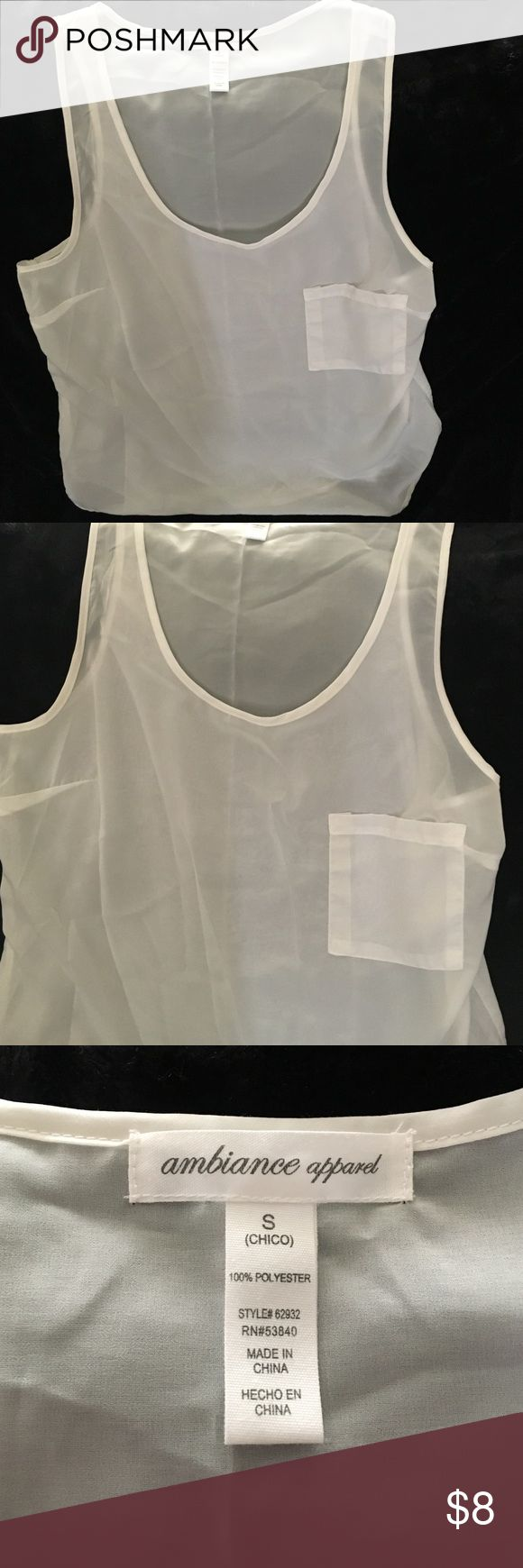 Polyester see through Tank top. Good as new only worn once 100% polyester see through White Tank Top. Ambiance Apparel Tops Tank Tops