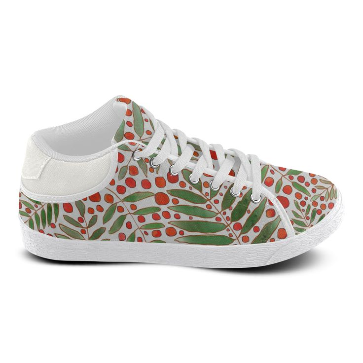 Rowanberry, white. Inspired by the Magic Island of Gotland. Women's Chukka Canvas Shoes (Model 003)