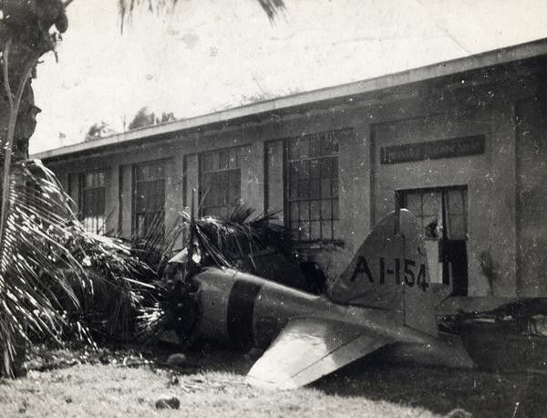 Wreckage of the first Japanese plane shot down during the attack on Pearl Harbor on December 7, 1941.