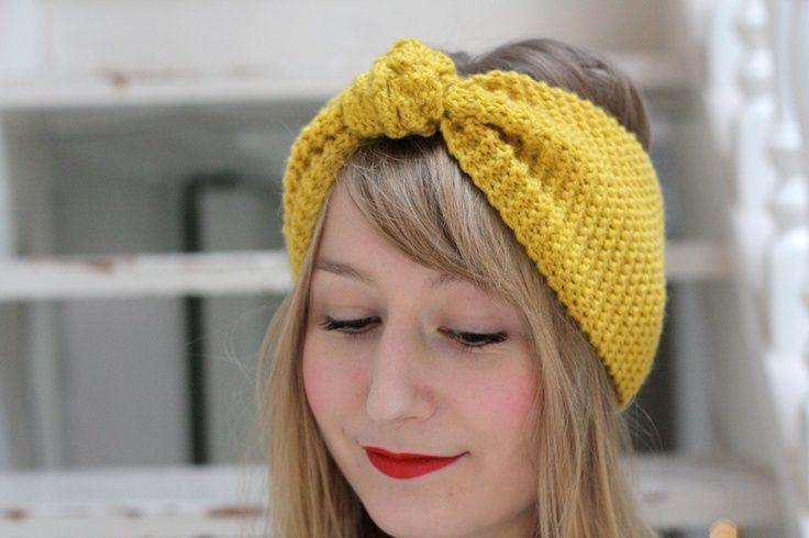 DIY nos petites oreilles bien au chaud.  Bandeau noeud tricot - point mousse