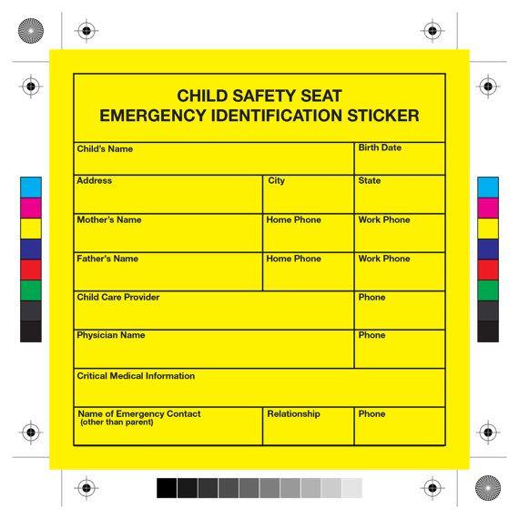 I.d. mich Child Safety Seat Notfall-Aufkleber von TheOutdoorGirls