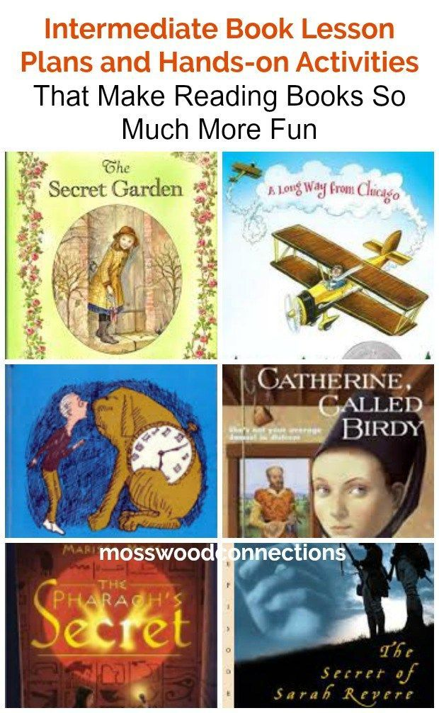 Comprehensive Intermediate Book Lesson Plans and Hands-on Activities That Make Reading Books So Much More Fun! Book discussion questions, writing prompts and hands-on activities for A Secret Garden, The Phantom Tollbooth, A Long Way From Chicago, The Pharaoh's Secret, Catherine Called Birdy and more. #BookLessons #handsonactivities #literacy #books #intermediatereaders #mosswoodconnections