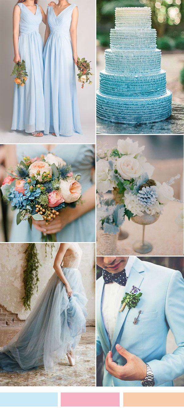 sky blue wedding color ideas and long v-neck chiffon bridesmaid dresses 2015
