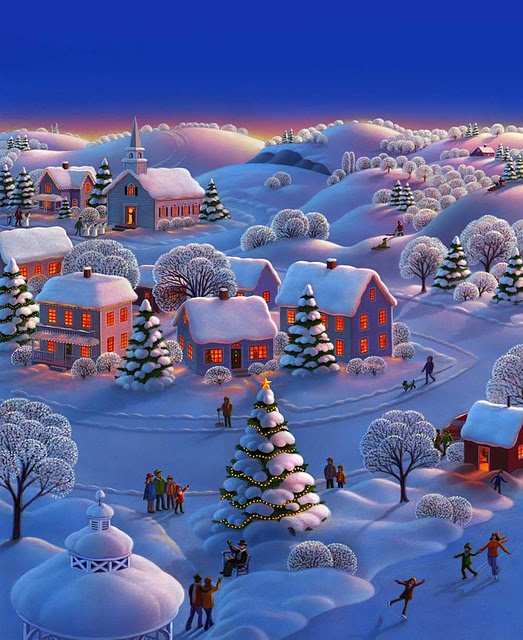 Illustration of a snow covered village, ready for the holidays, by Robin Moline
