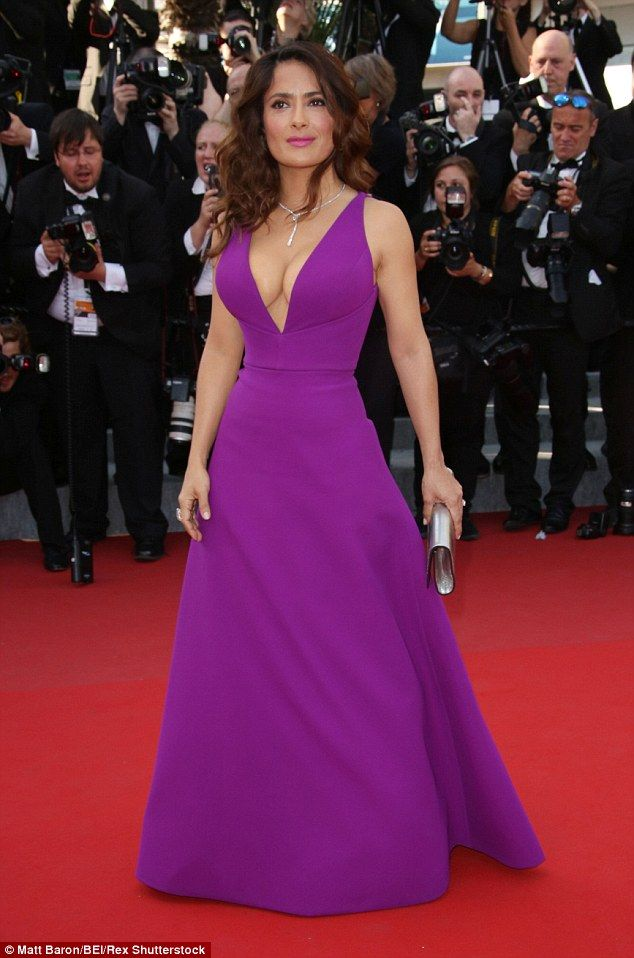 She does not hit the gym: Salma Hayek, pictured at the Cannes Film Festival in May, told People on Thursday that she does not exercise, but rather maintains her svelte figure by holding her body a certain way