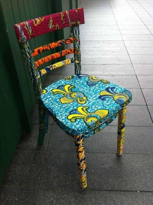 African fabric chair - I would have only cushion upholstered.