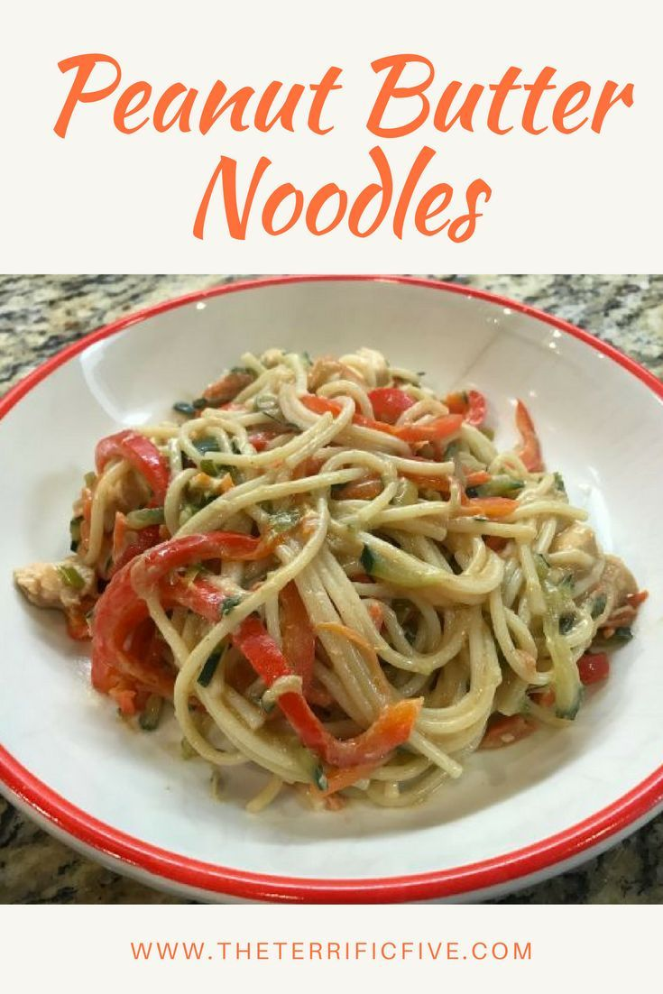 Peanut Butter Noodles: Need a healthy, easy recipe with big taste? Peanut butter lover? Try this peanut butter recipe for lunch or dinner.  www.theterrificfive.com