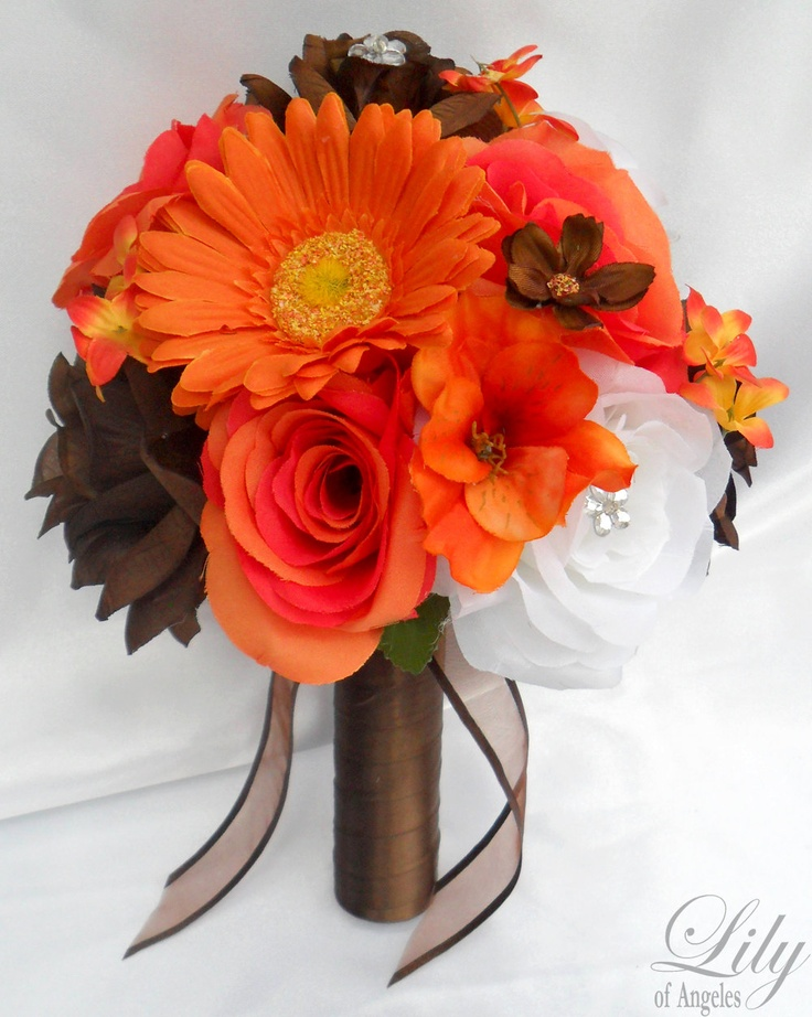 17 Piece Package Wedding Bridal Bride Maid Of Honor Bridesmaid Bouquet Boutonniere Corsage Silk Flower ORANGE BROWN Lily Angeles ORBR06